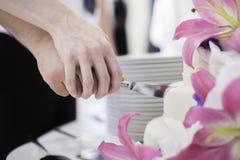 pastel de bodas del corte Fotos de archivo libres de regalías