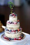 Pastel de bodas delicioso del chocolate adornado con las frutas y las bayas Fotografía de archivo