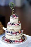 Pastel de bodas delicioso del chocolate adornado con las frutas y las bayas Foto de archivo
