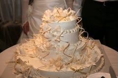 Pastel de bodas en el fondo del ascendente cercano de novia y del novio Imágenes de archivo libres de regalías