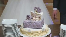 Pastel de bodas hermoso dulce en el banquete almacen de video