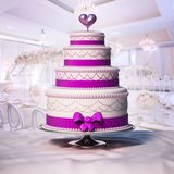 Pastel de bodas que se coloca en la tabla ilustración 3D Imagen de archivo