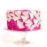 Pastel de bodas rosado adornado con el biliba blanco l del ginkgo del chocolate Imagen de archivo