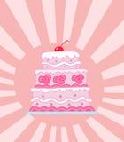 Pastel de bodas rosado con gradas triple Fotos de archivo