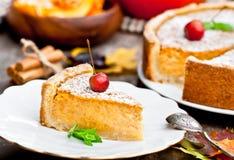 Pastel de calabaza delicioso con el canela adornado con las manzanas salvajes Foto de archivo