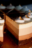 Pastel de capas cuatro con las sombras del marrón Aquí crema al chocolate imagenes de archivo