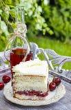 Pastel de capas de la cereza y del coco Foto de archivo
