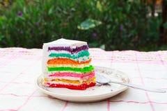 Pastel de capas del arco iris foto de archivo libre de regalías
