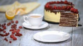 Pastel de capas Medovik de la miel del chocolate Pedazo de torta de miel del chocolate almacen de video
