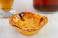 Pastel de nata with wine Stock Photos
