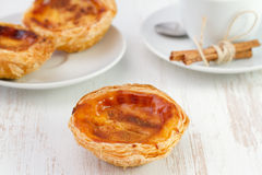 Pastel de nata on the plate Stock Image