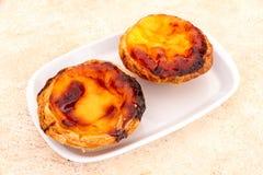 Pastel de nata is a Portuguese egg tart pastry Royalty Free Stock Photo