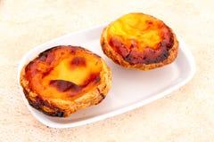 Pastel de nata is a Portuguese egg tart pastry Stock Image