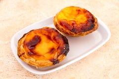 Pastel de nata is a Portuguese egg tart pastry Stock Photos