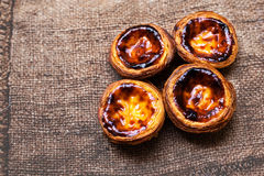 Pastel de nata, portuguese traditional creamy pastry. Egg Tart Royalty Free Stock Images