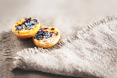 Pastel de nata, portuguese traditional creamy pastry. Egg Tart w. Ith cinnamon, close up Royalty Free Stock Image