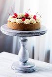 Pastel de queso adornado con la salsa de la cereza con las bayas Imágenes de archivo libres de regalías