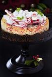 Pastel de queso adornado para la Navidad Fotografía de archivo libre de regalías