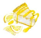 Pastel de queso con el limón y el atasco watercolor stock de ilustración