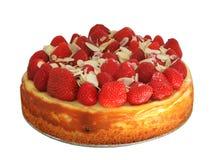 Pastel de queso con las fresas y las almendras Imagenes de archivo