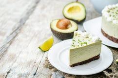 Pastel de queso de la cal del aguacate Imagen de archivo libre de regalías