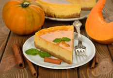 Pastel de queso de la calabaza Imagen de archivo