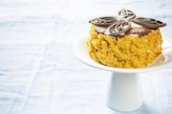 Pastel de queso de la calabaza con el chocolate y las nueces Foto de archivo libre de regalías