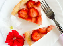 Pastel de queso de la fresa Imagenes de archivo