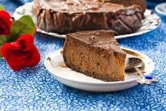 Pastel de queso del chocolate Fotos de archivo