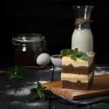 Pastel de queso del chocolate con el relleno de la vainilla fotos de archivo