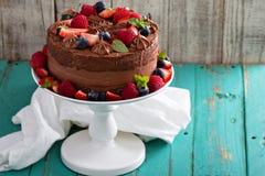 Pastel de queso del chocolate y torta de la comida del diablo Foto de archivo