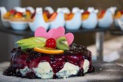 Pastel de queso del top del relleno del arándano en comida fría fotografía de archivo libre de regalías