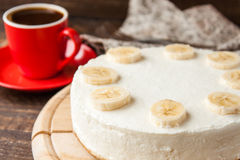 Pastel de queso delicioso del plátano Fotos de archivo libres de regalías