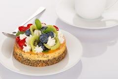 Pastel de queso, fresa, arándano y kiwi Fotografía de archivo