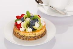 Pastel de queso, fresas, arándanos y kiwi Fotografía de archivo libre de regalías