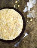 Pastel de queso hecho en casa con las nueces del almont Imagen de archivo