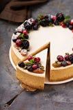 Pastel de queso de la calabaza con el desmoche de la crema agria Foto de archivo libre de regalías