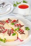 Pastel de queso de la capa de la torta y del queso cremoso de esponja Fotos de archivo libres de regalías