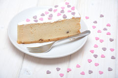 Pastel de queso para las tarjetas del día de San Valentín Fotografía de archivo libre de regalías