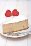 Pastel de queso para las tarjetas del día de San Valentín Fotos de archivo