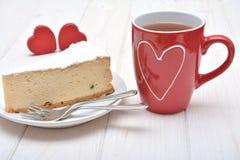 Pastel de queso para las tarjetas del día de San Valentín Imágenes de archivo libres de regalías