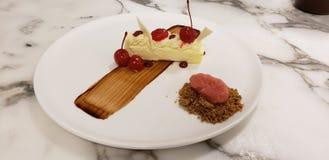 Pastel de queso plateado de la cereza fotografía de archivo