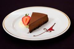 Pastel de queso rico del chocolate Imagen de archivo