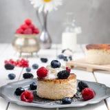 Pastel de queso ucraniano con las bayas y la crema, aún vida Imagen de archivo libre de regalías