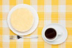 Pastel de queso y café raros Foto de archivo libre de regalías