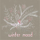 Pastel doodle winter card Royalty Free Stock Image