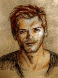 Pastel drawing. Illustration. portrait of a young man. Portrait of a young man with short hair. En face. Sanguine, charcoal, pastel Royalty Free Stock Images