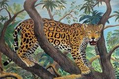 Jaguar in the jungle. Pastel drawing of jaguar in the amazonian jungle Stock Photos