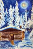 The hut in the winter forest on a moonlit night. The pastel drawing on paper. Trees covered with snow. In the sky big moon Stock Photography