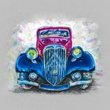 Pastel drawing retro car royalty free illustration